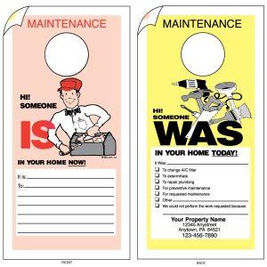 Imprinted Maintenance Door Hanger