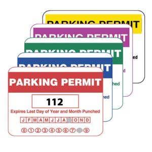 Parking Permit Inside Adhesive Rectangle Shape with Calendar