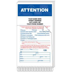 "Parking Violation Book - ""Attention"" Imprinted"