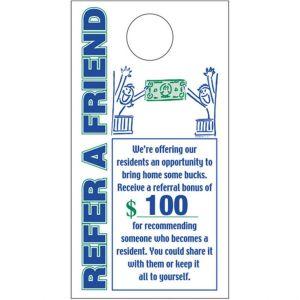 Refer a Friend Door Hanger - Bonus Money