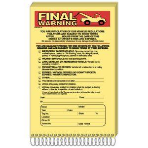 """Parking Violation Book - """"Final Warning"""""""