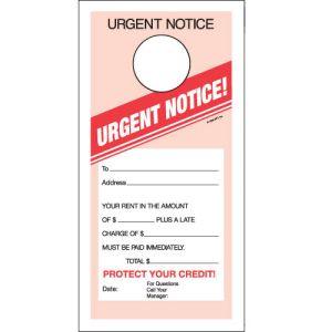 Door Hanger - Urgent Notice 1 Part