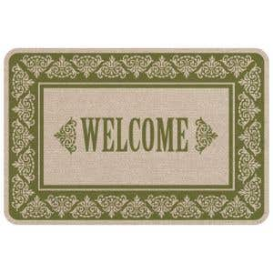 Welcome Mat - Green and Tan Scrolls