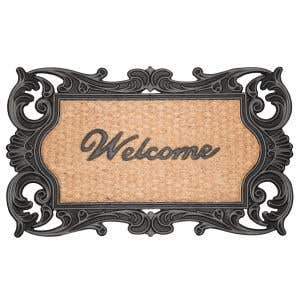 Coco Welcome Mat in a stylish black scroll design!