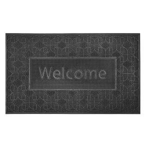 Rubber Door Mat - Welcome in Black