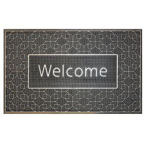 Rubber Door Mat - Welcome in Silver