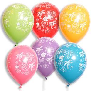 "11"" Latex Balloons - Tropical Print - Pastel Colors"