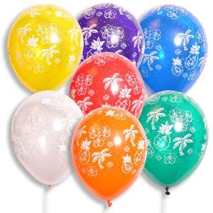 "11"" Latex Balloons - Tropical Print - Jewel Colors"