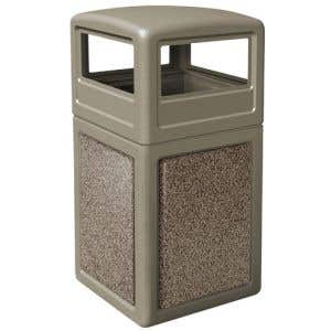 Square Trash Cans - 42 Gallon - Stonetec with Dome Top