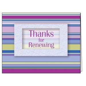 Thanks for Renewing Card - Purple Stripe