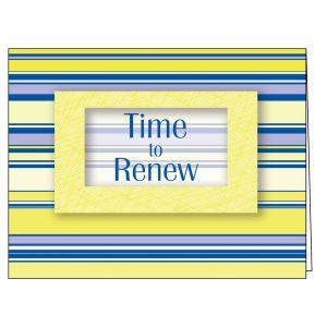 Time to Renew Card - Yellow Stripe