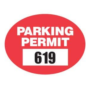 Parking Permit Static Cling Oval Shape Economy