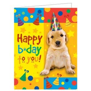 Happy Birthday Card - Puppy in Hat