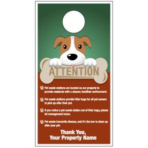 """Custom Door Hanger - """"Pet Waste Clean Up"""" Dog with Bone"""