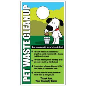 """Custom Door Hanger - """"Pet Waste Clean Up"""" Dog with Poop Bag"""