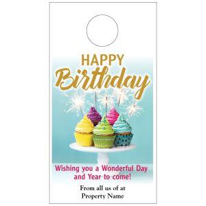 Happy Birthday Door Hanger - Colorful Cupcakes