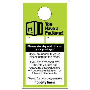 Package Pick Up Door Hanger