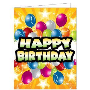 Happy Birthday Card - Balloons and Stars