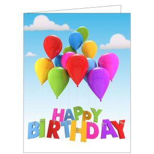 Happy Birthday Card - Floating Balloons