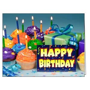 Happy Birthday Card - Cupcakes and Gifts