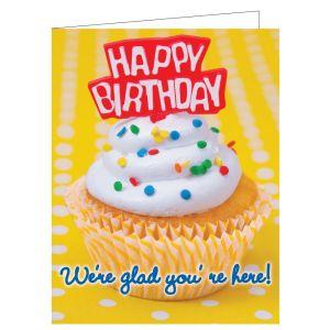 Happy Birthday Card - Yellow Cupcakes