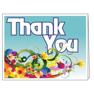 Thank You Card - Blue Decorative