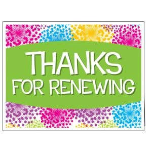 Thanks for Renewing Card - Colorful Blooms