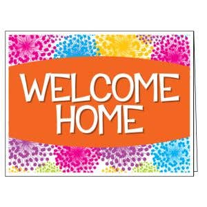 Welcome Card - Colorful Blooms - Orange