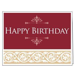 Happy Birthday Card - Burgundy and Tan Scroll