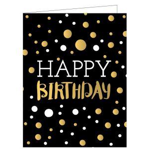 Happy Birthday Card - Gold Dots