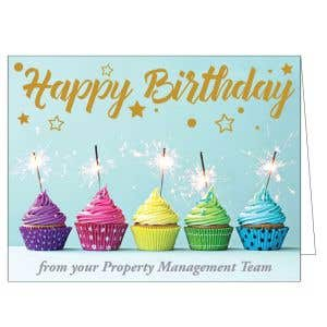 Happy Birthday Card - Colorful Cupcakes