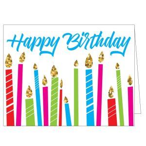 Happy Birthday Card - Glitter Candles