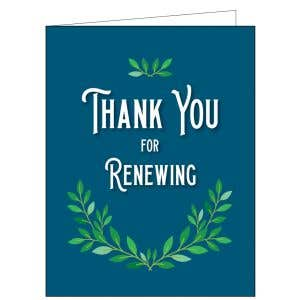 Thanks for Renewing Card - Green Leaves