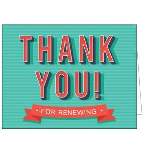 Thanks for Renewing Card - 3D Letters