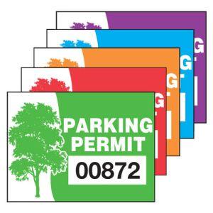 Static Cling Parking Permits - Oak Tree - Rectangle Shape