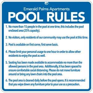 Full Custom - Pool Rules Signs