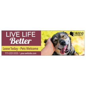 Custom Banner - Happy Dog 10' W x 3' H
