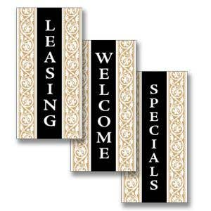 Boulevard Banners - Black and Tan Scroll