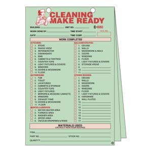 Make Ready 3-Part Form - Cleaning