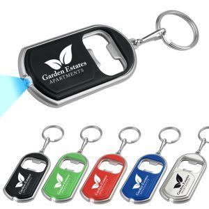 Custom Key Tags - LED Flashlight with Bottle Opener