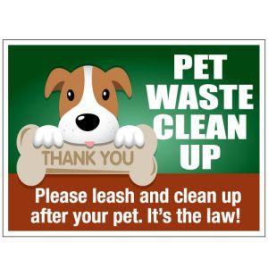 "Pet Waste Bandit Sign - ""Pet Waste Clean Up"" Dog with Bone"