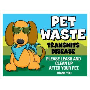 """Pet Waste Bandit Sign - """"Pet Waste Transmits Disease"""" Bandanna Dog"""
