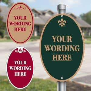 Custom Aluminum Signs - Shape Sign - Vertical Oval