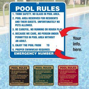 Custom Aluminum Signs - Pool Rules Signs