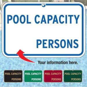 Custom Aluminum Signs - Pool Capacity Signs