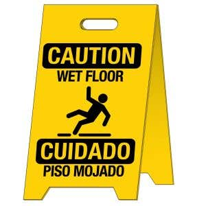 Bilingual Caution Wet Floor Standing Sign