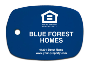 Opaque Blue with White Custom Key Tag