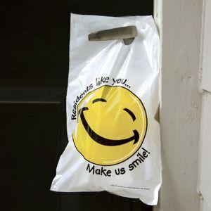 Opaque Door Hanger Bag - Smiley Face - Large Size
