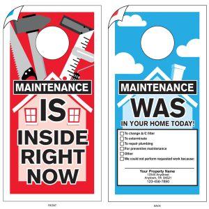 Imprinted Maintenance Door Hanger - House