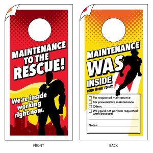 Maintenance Door Hanger - Super Heroes
